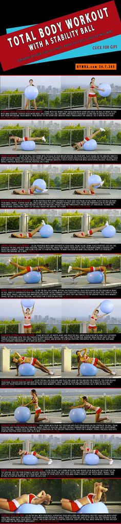 Total Body Workout. This is a beginner's #workout but effective for all levels! A stability ball engages all your muscles and builds strength while improving stability. There aren't many other fitness tools that work your entire body better than an #exercise ball will! This total body toner will sculpt you from head to toe while burning major calories and shedding fat! Click on the image to see the moves in GIF form.