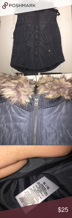 Brand new never worn dark grey vest with fur hood! New never worn!! Dark grey color with detachable hood. Has buttoned pockets. Size XL. Aeropostale Jackets & Coats Vests