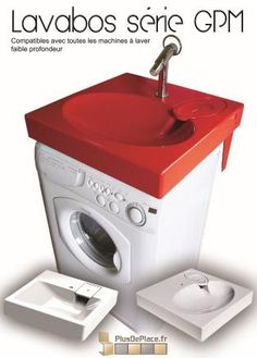 Salle de bain on pinterest bathroom laundry rooms - Lavabo gain de place pour machine a laver ...