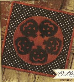 Primitive Folk Art Wool Applique Pattern:  OCTOBER - CANDLE MAT.