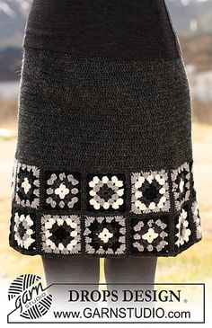 "115-43 Crochet skirt in ""Karisma"" with patterned squares along bottom edge by DROPS design"