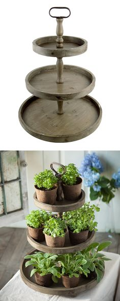 There are probably hundreds of awesome ways you can put this Caledonia Round Display to work, but we are partial to the idea of a three-tiered home for potted plants. Rows of greenery can only give off...  Find the Caledonia Round Display, as seen in the The Gardener's Backyard Collection at http://dotandbo.com/collections/the-gardeners-backyard?utm_source=pinterest&utm_medium=organic&db_sku=121128