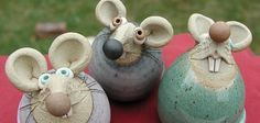 Mice, upside down pinch pot, love the expressions