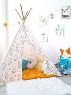 Kids Tepee with blue Dreamcatcers to buy on Etsy - Happy Spaces Workshop - design made tepee wigwam for boys room. Boys room inspiration - feathers decor, blue, orange, yellow decor, pillows