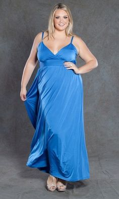 Plus Size 1X to 5X Deep V-neckline with crossover formal Dress $89.90