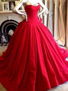 Red Wedding Dresses Ball Gown Sweetheart Strapless Sleevesless Floor Length Sexy Bridal Wears