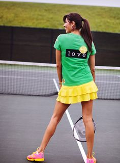 Love Tennis Lime Green Short Sleeve Fitted V Neck T Shirt with Small Pointed Pocket - G Wear, LLC