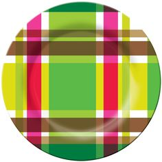 French Bull, Multiplaid, Melamine, Plate, Bright, Colorful, Fun, Indoor, Outdoor, Entertaining, Every Day, Happy