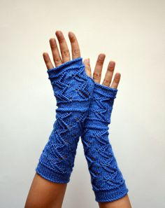Long Lace Knit Fingerless Gloves  Blue Lace Fingerless by lyralyra