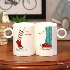 Cheap cup magnet, Buy Quality cup football directly from China cup and ball toy Suppliers: Love Story in this paragraph mug / coffee mug / ce Paint Designs, Mug Designs, San Valentin Ideas, Felt Crafts Patterns, Sublimation Mugs, Couple Mugs, Mother Art, Wedding Cups, Cute Coffee Mugs
