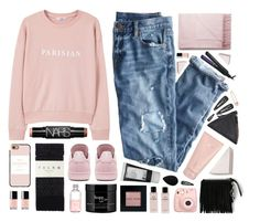 """""""Parisian"""" by amazing-abby ❤ liked on Polyvore featuring MANGO, NARS Cosmetics, Falke, Casetify, adidas, philosophy, Lord & Berry, J.Crew, Korres and Bobbi Brown Cosmetics"""