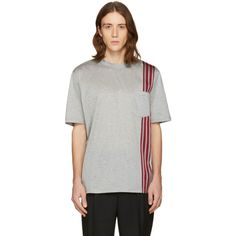Lanvin - Grey Stripe Ribbon T-Shirt