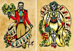 This set of prints was inspired by the Mexican Loteria cards, La Dama & El Catrin. Ive given this dapper couple a Day of the Dead makeover, with Los Muertos Tattoo, Loteria Cards, Loteria Shirts, Mexican Art Tattoos, Old School Tattoo Designs, Mermaid Images, Day Of The Dead Art, Tatoo Art, Couple Art