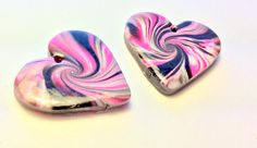Black, Pink, and White Marbled Swirl Heart Handmade Polymer Clay 30 mm Focal Beads by PennysLane on Etsy