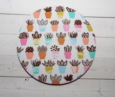 succulents Mouse Pad mousepad / Mat  round or rectangle  by Laa766  chic / cute / preppy / computer, desk accessories / cubical, office, home decor / co-worker, student gift / patterned design / match with coasters, wrist rests / computers and peripherals / feminine touches for the office / desk decor