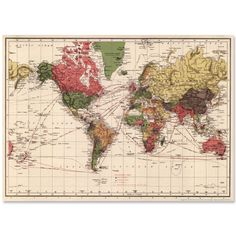 World map vintage style huge art poster print home deco pinterest world map vintage style huge art poster print map gumiabroncs Choice Image