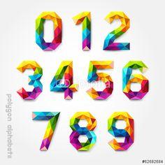 ベクター: Polygon number alphabet colorful font style. Vector illustration点