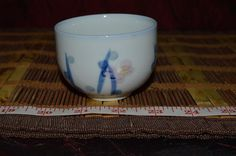 """Asian Porcelain Tea Cup Floral Design 2 7/8""""x2 1/8"""" Marked #Asian #Unknown"""