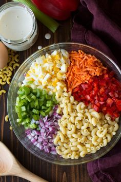 Rainbow-colored bowl of easy Macaroni Salad Ingredients