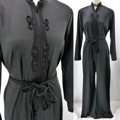 a49400dbe5cc Vintage 60s 70s Black Zip-Front Jumpsuit Catsuit BELL BOTTOM Belted Swirl L  XL
