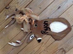 Custom Deer Door Hanger,  Dimensions are 24 1/2x 14. on Etsy, $33.00