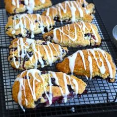 Typical British tea time treat - Blueberry Lemon Scones with a Lemon Frosting.