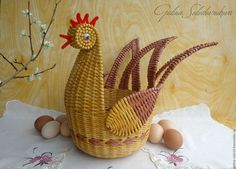 Курочка плетёная Sun Paper, Jewelry Patterns, Rooster, Planter Pots, Baskets, Paper Basket, Rope Basket, Journaling, Handicraft