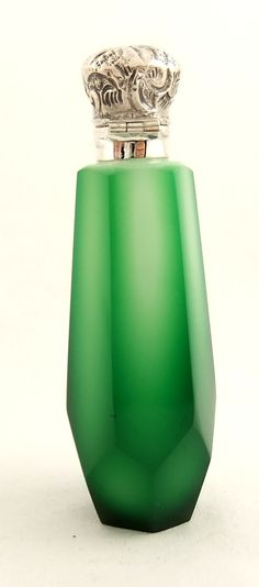 Two colour opaline green glass and silver top perfume bottle c 1880