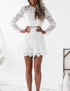 68e965a9b8c   19.68  Women s Lace Daily   Club Flare Sleeve Sheath Dress - Jacquard  White