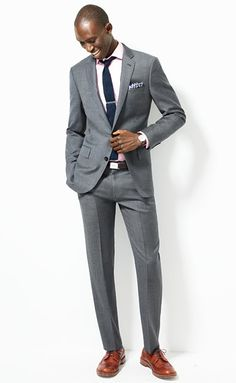 J. Crew: Ludlow suit jacket with double vent in Italian worsted wool. I also really like this suit and think the brown shoes look good.