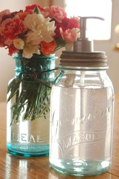 While mason jars are used to store jams, jellies and other random items, they can also be transformed into charming home decor. Check out these do-it-yourself mason jar projects that can be pulled together with a little free time and creativity. Mason jar pendant lampWe love the simplicity of this gorgeous blue pendant lamp. For the how-to, visit The Spring Blog.Chalkboard jarChalkboard paint +