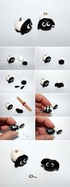 DIY Fimo / Polymer Clay sheep just do it yourself - DIY Fimo / Polymer Clay Schaf einfach selber machen DIY polymer clay / polymer clay sheep + instru - Fimo Polymer Clay, Diy Fimo, Crea Fimo, Polymer Clay Projects, Clay Crafts, Clay Clay, Felt Crafts, Diy Jewelry Tutorials, Jewelry Crafts