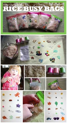 Rice Busy Bags {Craft Tutorial} @Emilie Claeys Claeys Claeys -Baby Loving Mama  Put plastic strips or cubes with mult probs on them
