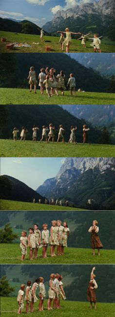 """Maria and the Von Trapp children singing on a beautiful """"stage"""" on the hills of Austria in The Sound of Music 1965"""