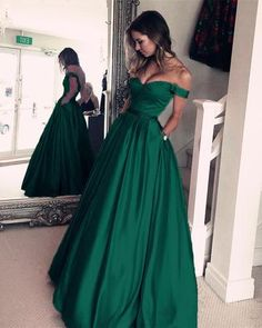 Dark Green Satin V-neck Prom Long Prom Dresses Off Shoulder Evening Gowns With Beaded Sashes