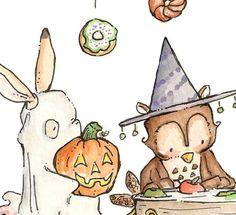 Halloween Party. PRINT 8X10. Nursery Art Home Decor by LoxlyHollow, $24.00