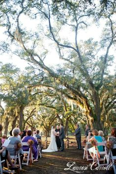 Outdoor Wedding Ceremony Under The Oaks At Preserve Event Facility Outdoorweddingceremony
