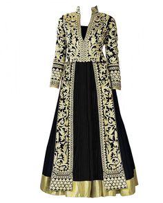 Royal Black & Cream Mughal Designer Suit, Front Open Straight With Khatli Work