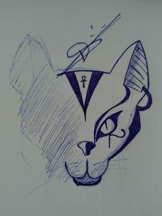 Gato Egípcio - meia face.