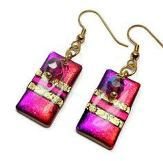 Red Violet Statement Earrings polymer clay jewelry by BeadazzleMe