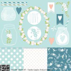 Antique white floral digital clip art. frame, transparent mason jars, striped straws, flowers, hearts, nautical colors, navy, green, blue