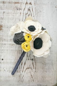 Small Fabric Anemone Grey and Yellow Alternative Heirloom Bouquet - Anemones,  Rosettes, Sola Wood, Yellow, Gray, Fabric Wedding Flowers