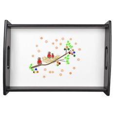 Cute Robin family Christmas Holiday Serving Tray