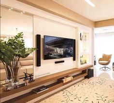 Chic and Modern TV wall mount ideas. - Since many people including your family enjoy watching TV, you need to consider the best place to install it. Here are 15 best TV wall mount ideas for any place including your living room. Cool Rooms, Great Rooms, Tv Wall Decor, Wall Tv, Home Design, Interior Design, Modern Design, Design Ideas, Modern Tv Wall