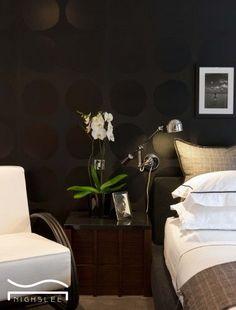 black bedroom decor bohemian Master bedroom bedside idea chair flower Lighting wall bedroom design