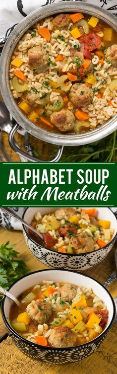 Alphabet noodle soup with turkey meatballs and vegetables - kid friendly comfort food