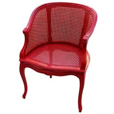 French Painted Red Cane Chair