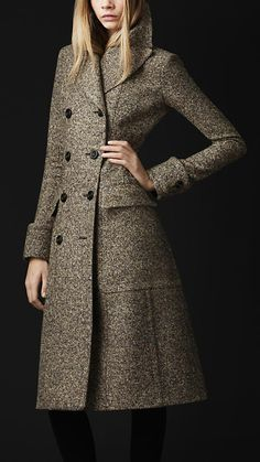 Burberry Wool Silk Tweed Coat