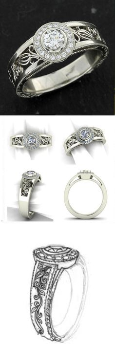 Custom made: White gold & diamond halo ring with filigree & hand engraving