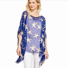 ⭐️New Arrival! Starfish loose fit shirts Made of a sheer polyester material. One size fits all. Available in navy and white. Please comment below which color you like and I will make a reserved listing for you. Not listed brand! Instagram: heartofspringboutique Free People Tops Blouses